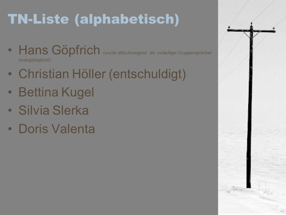 TN-Liste (alphabetisch)