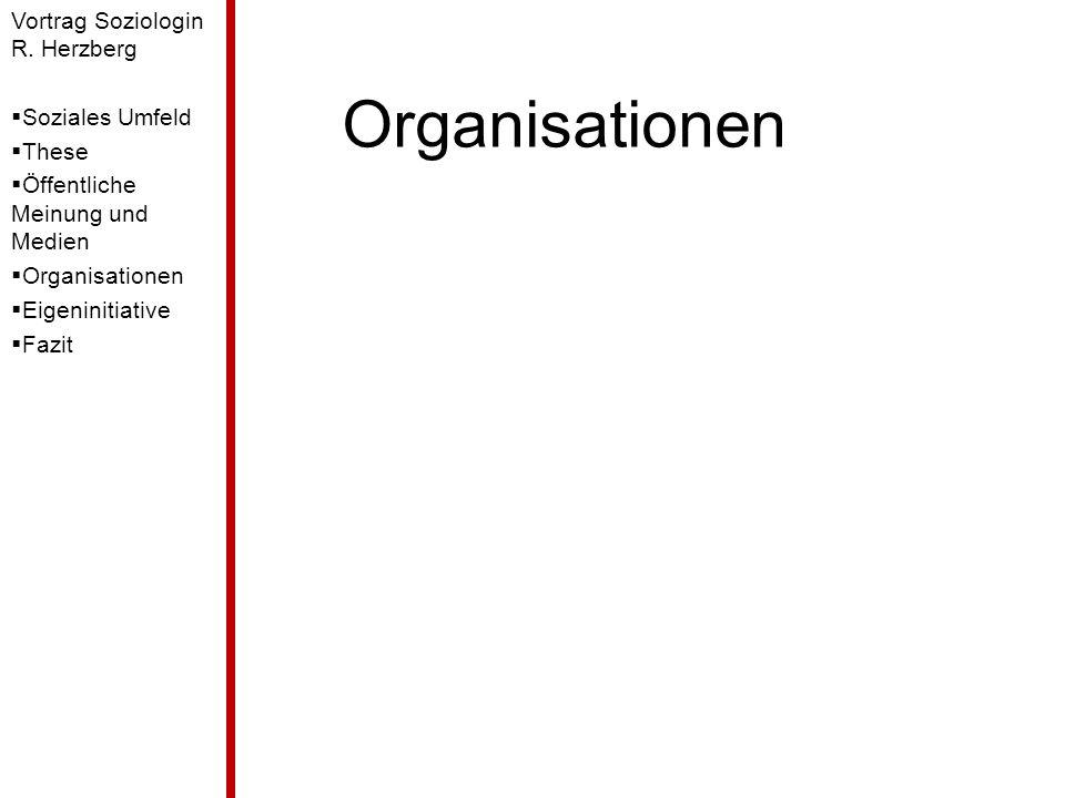 Organisationen Vortrag Soziologin R. Herzberg Soziales Umfeld These