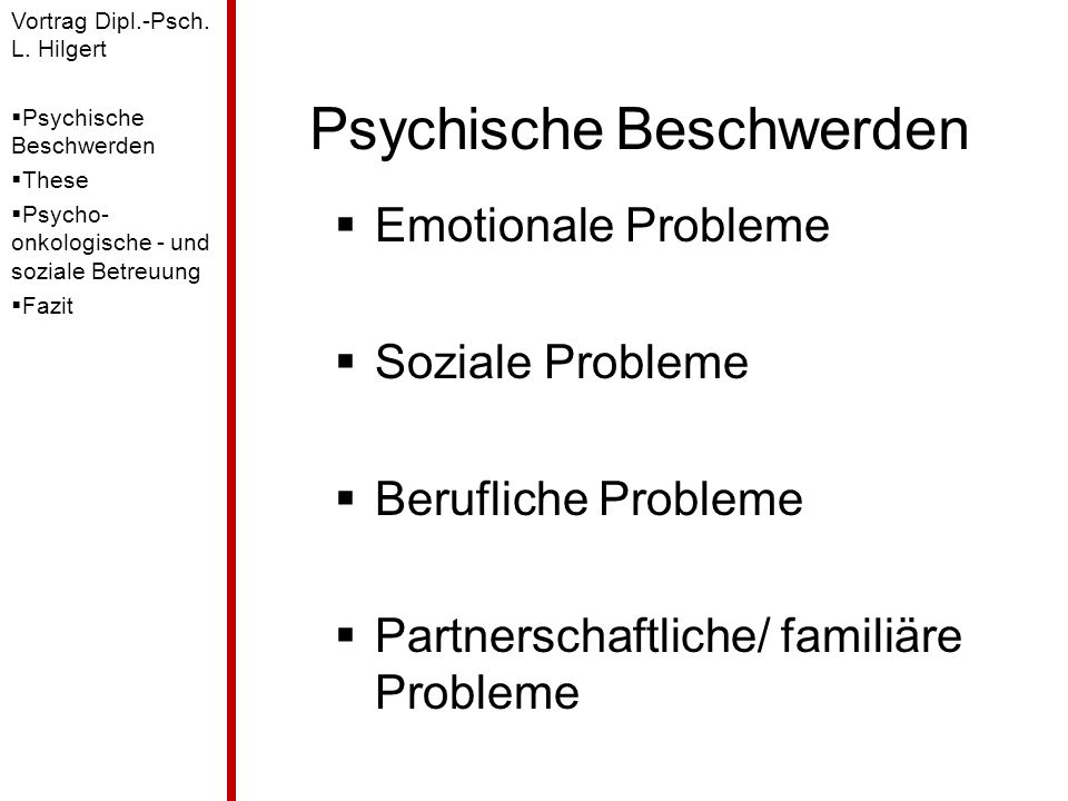 Psychische Beschwerden