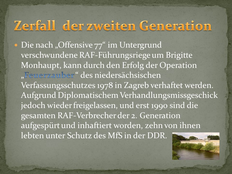 Zerfall der zweiten Generation