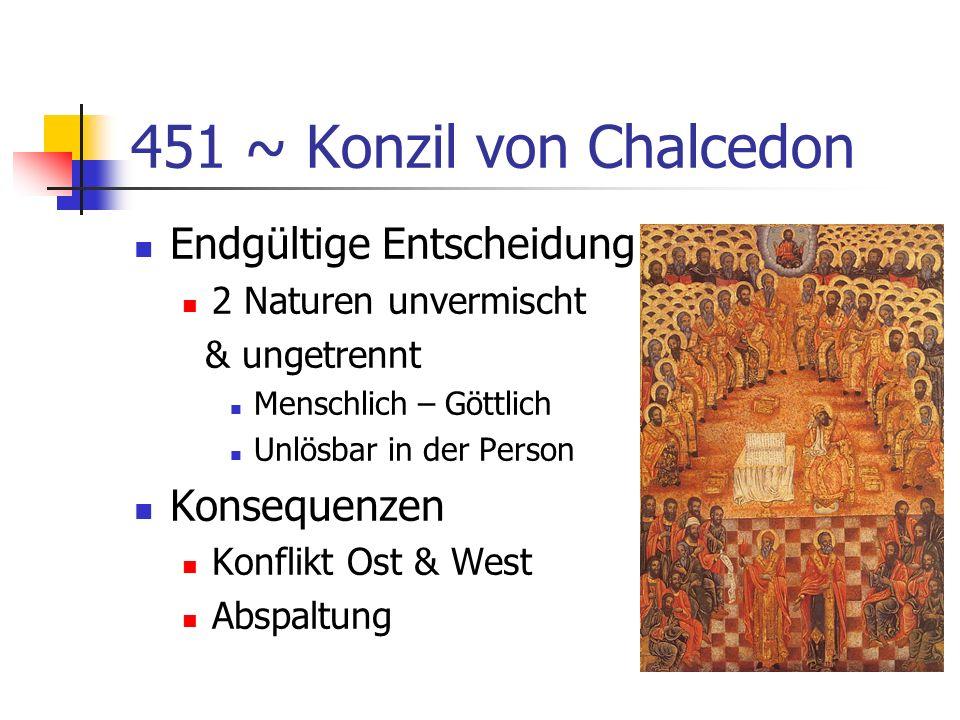 451 ~ Konzil von Chalcedon Endgültige Entscheidung Konsequenzen