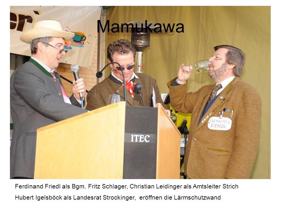 Mamukawa Ferdinand Friedl als Bgm. Fritz Schlager, Christian Leidinger als Amtsleiter Strich.
