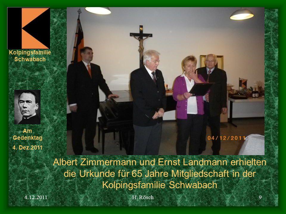 Albert Zimmermann und Ernst Landmann erhielten die Urkunde für 65 Jahre Mitgliedschaft in der Kolpingsfamilie Schwabach