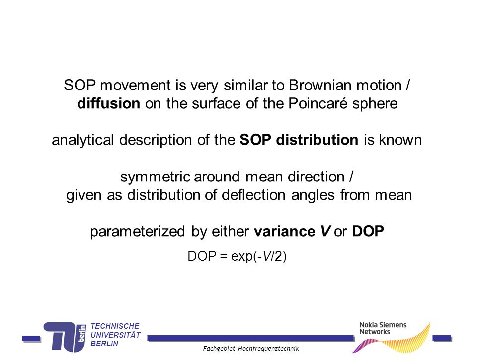 analytical description of the SOP distribution is known