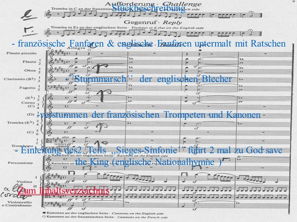 - französische Fanfaren & englische Fanfaren untermalt mit Ratschen