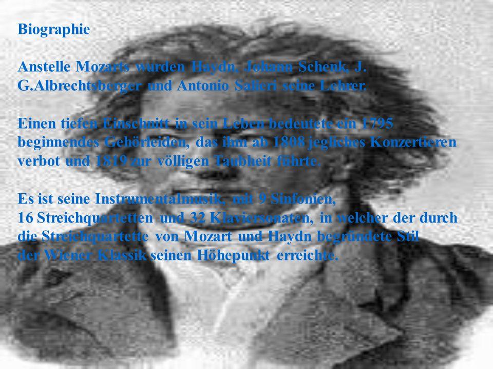 Biographie Anstelle Mozarts wurden Haydn, Johann Schenk, J. G.Albrechtsberger und Antonio Salieri seine Lehrer.