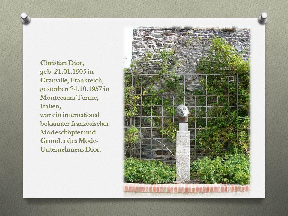 Christian Dior, geb. 21.01.1905 in Granville, Frankreich, gestorben 24.10.1957 in Montecatini Terme, Italien,
