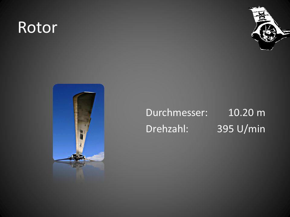 Rotor Durchmesser: 10.20 m Drehzahl: 395 U/min