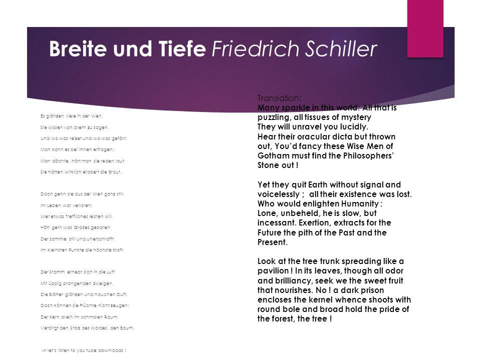 Breite und Tiefe Friedrich Schiller