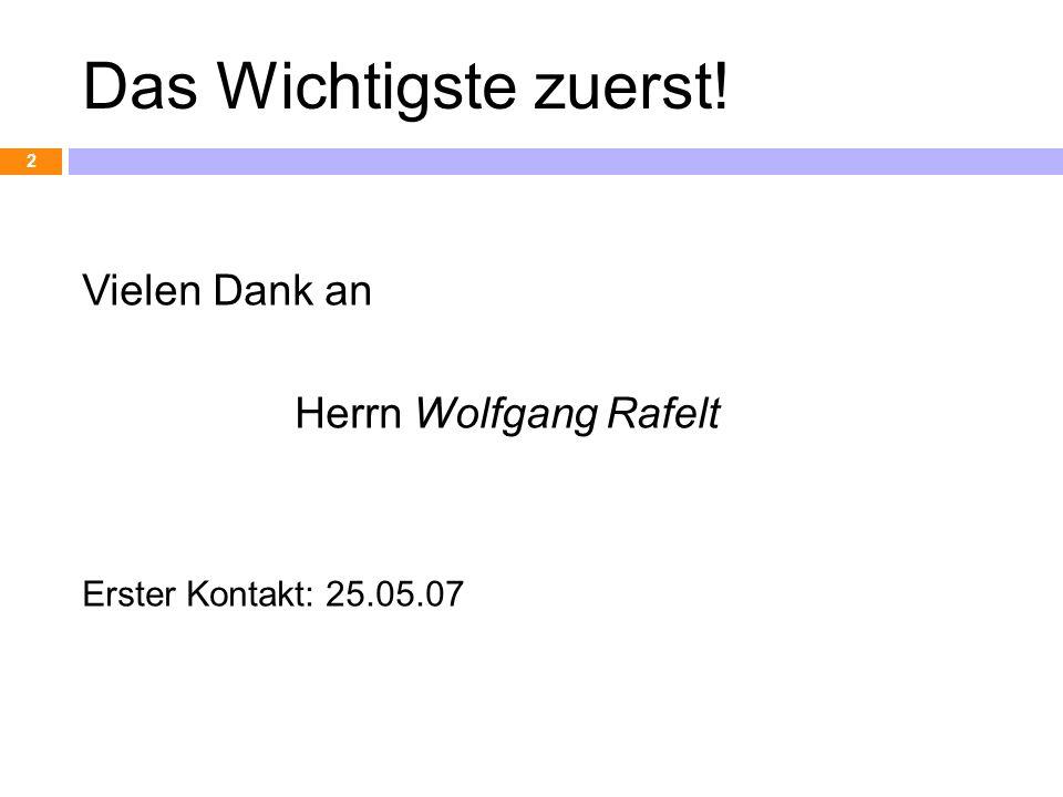 Das Wichtigste zuerst! Vielen Dank an Herrn Wolfgang Rafelt