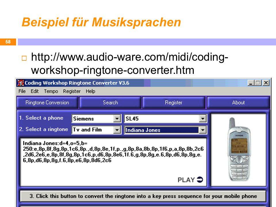 Beispiel für Musiksprachen