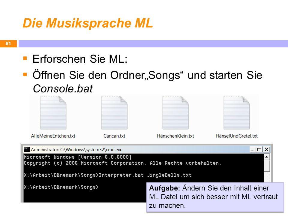Die Musiksprache ML Erforschen Sie ML: