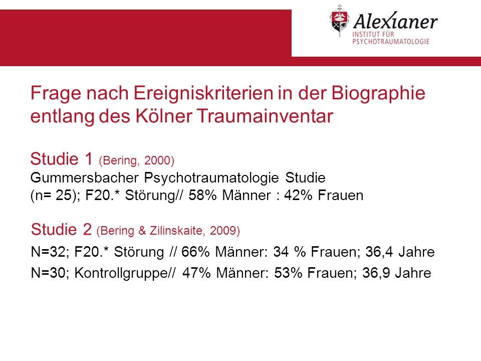 Frage nach Ereigniskriterien in der Biographie entlang des Kölner Traumainventar
