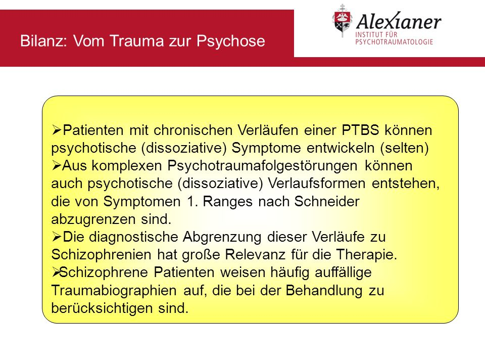 Bilanz: Vom Trauma zur Psychose
