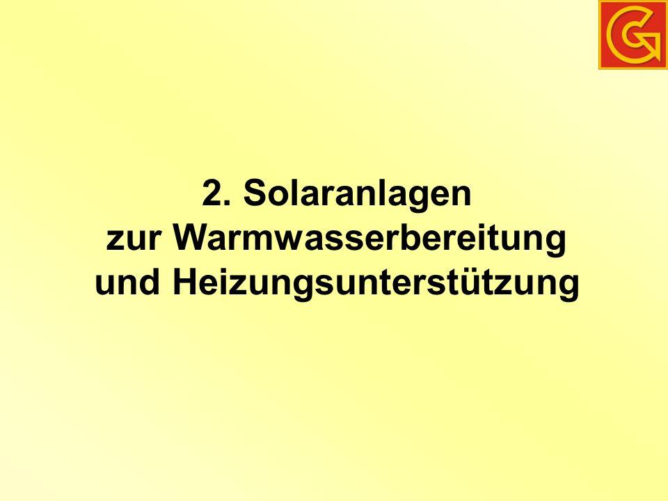 2. Solaranlagen zur Warmwasserbereitung und Heizungsunterstützung