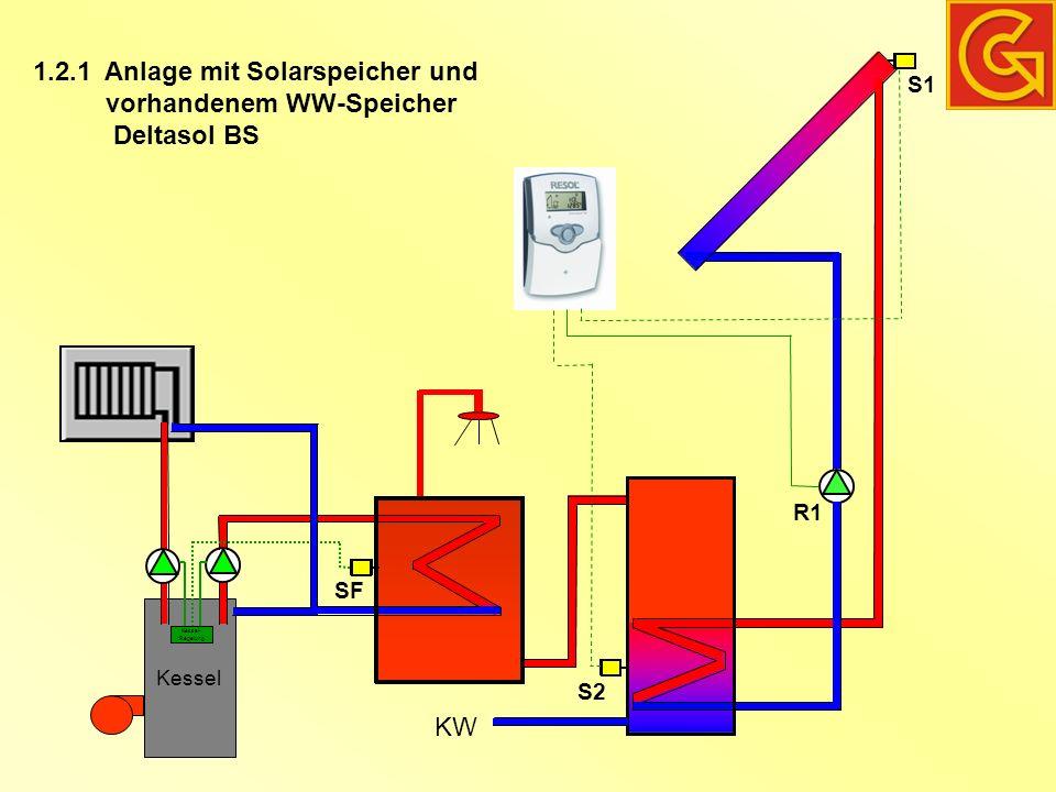 Anlage mit Solarspeicher und vorhandenem WW-Speicher Deltasol BS