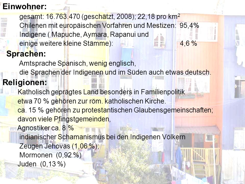 Einwohner: Religionen: