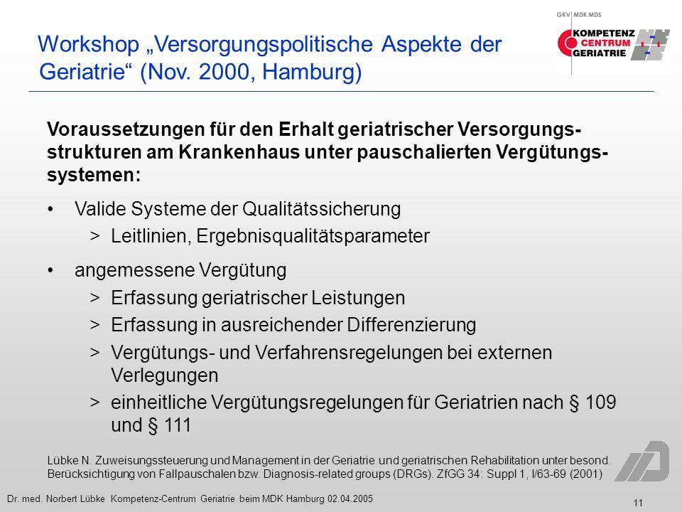 """Workshop """"Versorgungspolitische Aspekte der Geriatrie (Nov"""