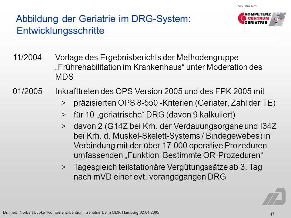 Abbildung der Geriatrie im DRG-System: Entwicklungsschritte