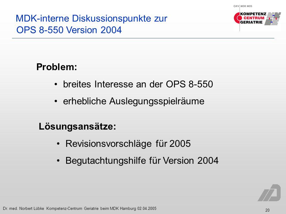 MDK-interne Diskussionspunkte zur OPS 8-550 Version 2004
