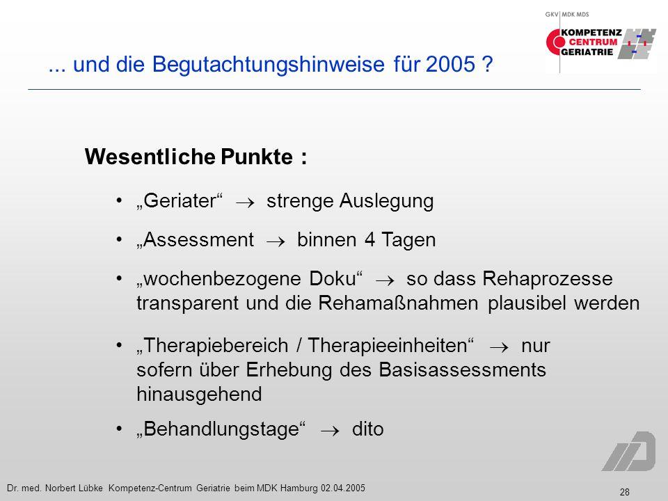 ... und die Begutachtungshinweise für 2005