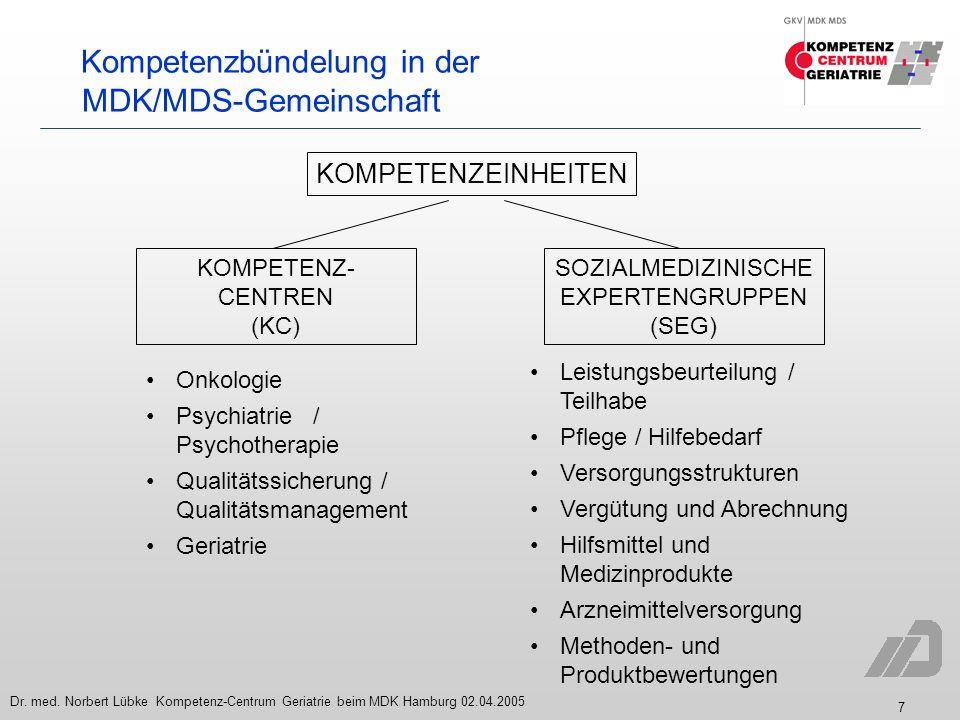 Kompetenzbündelung in der MDK/MDS-Gemeinschaft