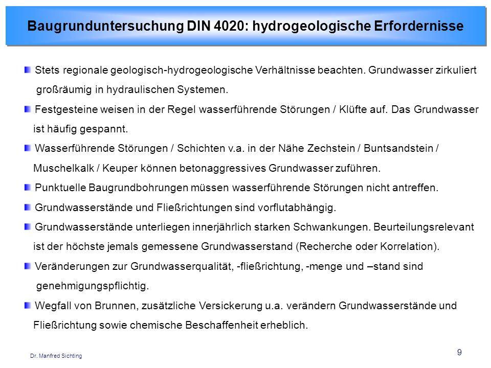 Baugrunduntersuchung DIN 4020: hydrogeologische Erfordernisse