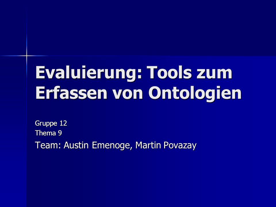 Evaluierung: Tools zum Erfassen von Ontologien