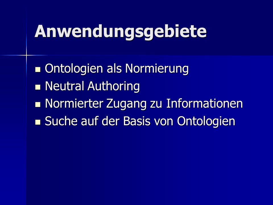 Anwendungsgebiete Ontologien als Normierung Neutral Authoring