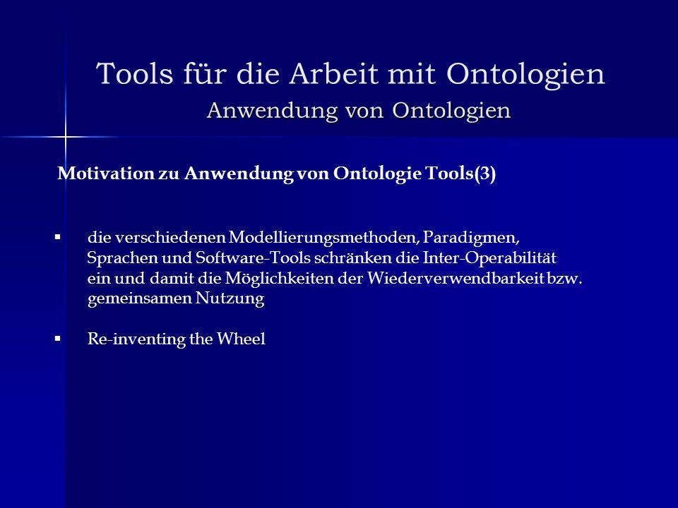 Anwendung von Ontologien