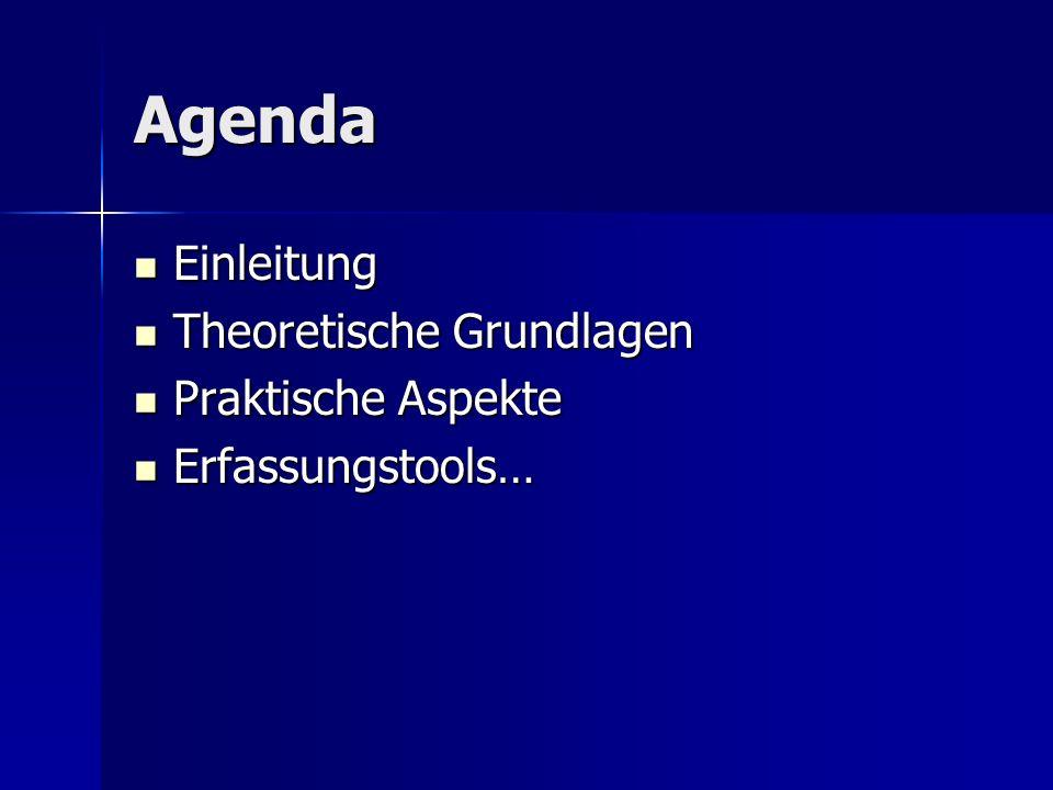 Agenda Einleitung Theoretische Grundlagen Praktische Aspekte