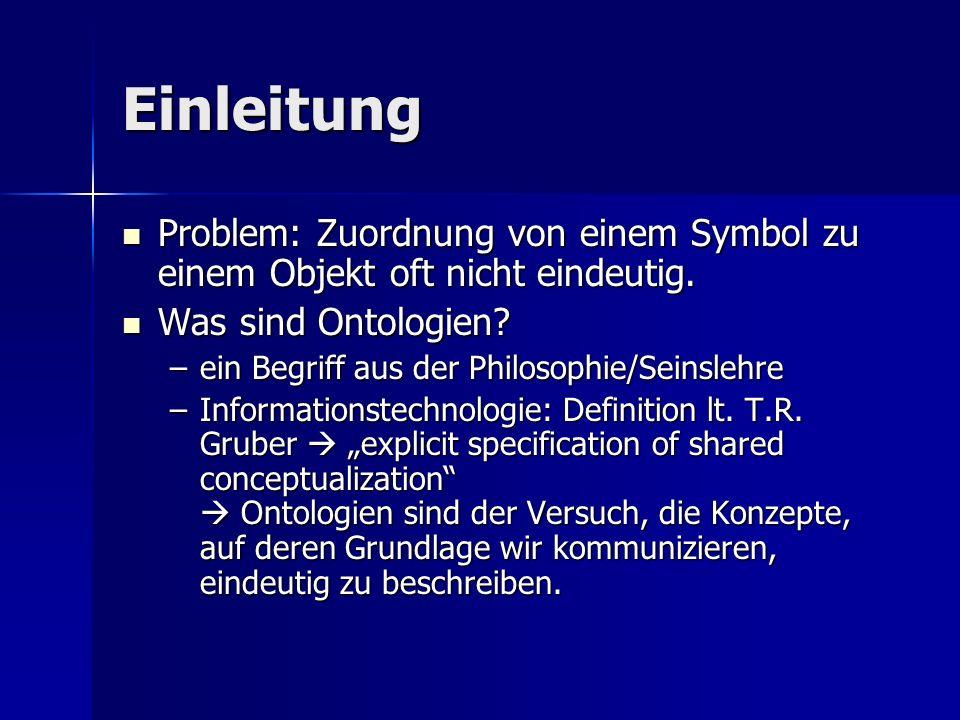 Einleitung Problem: Zuordnung von einem Symbol zu einem Objekt oft nicht eindeutig. Was sind Ontologien