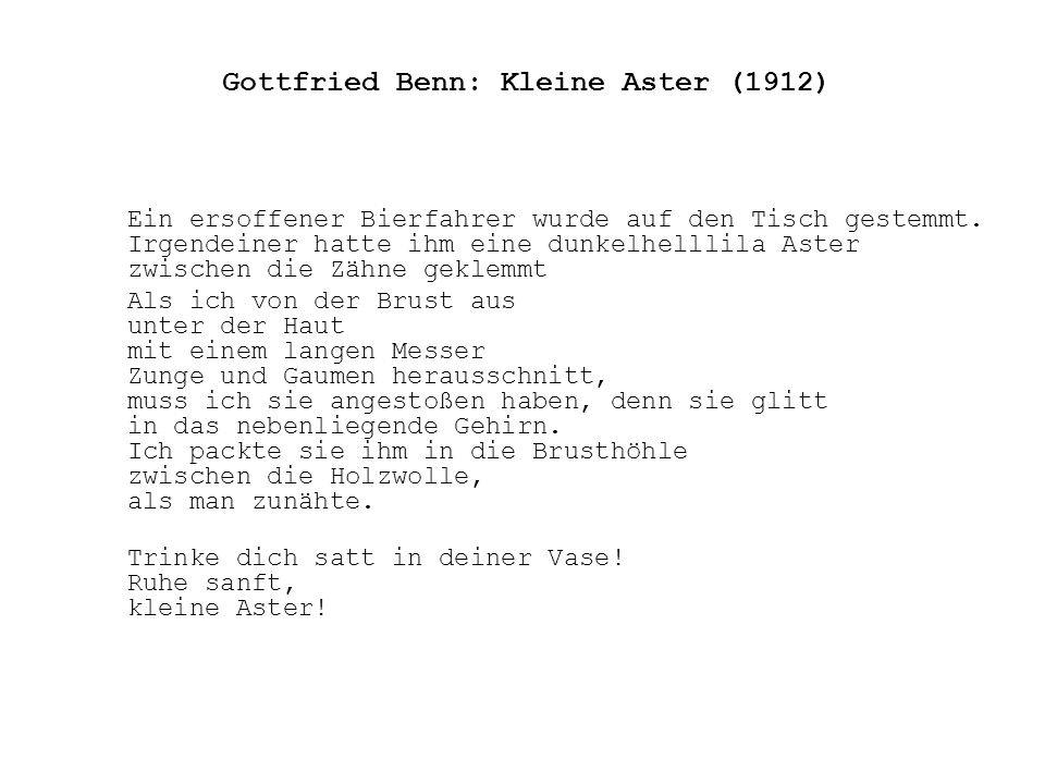 Gottfried Benn: Kleine Aster (1912)