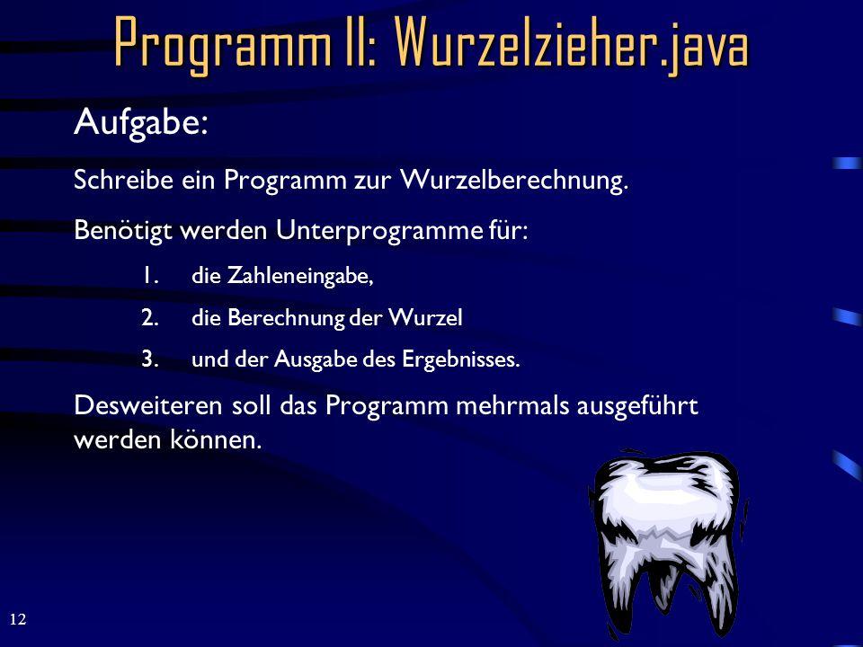 Programm II: Wurzelzieher.java