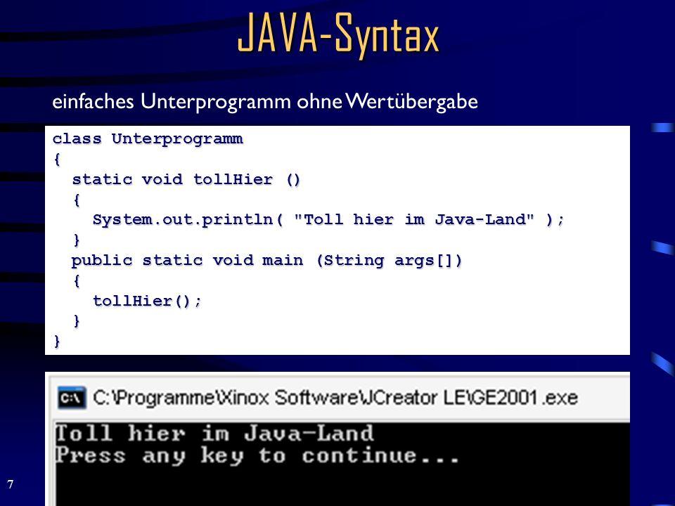 JAVA-Syntax einfaches Unterprogramm ohne Wertübergabe