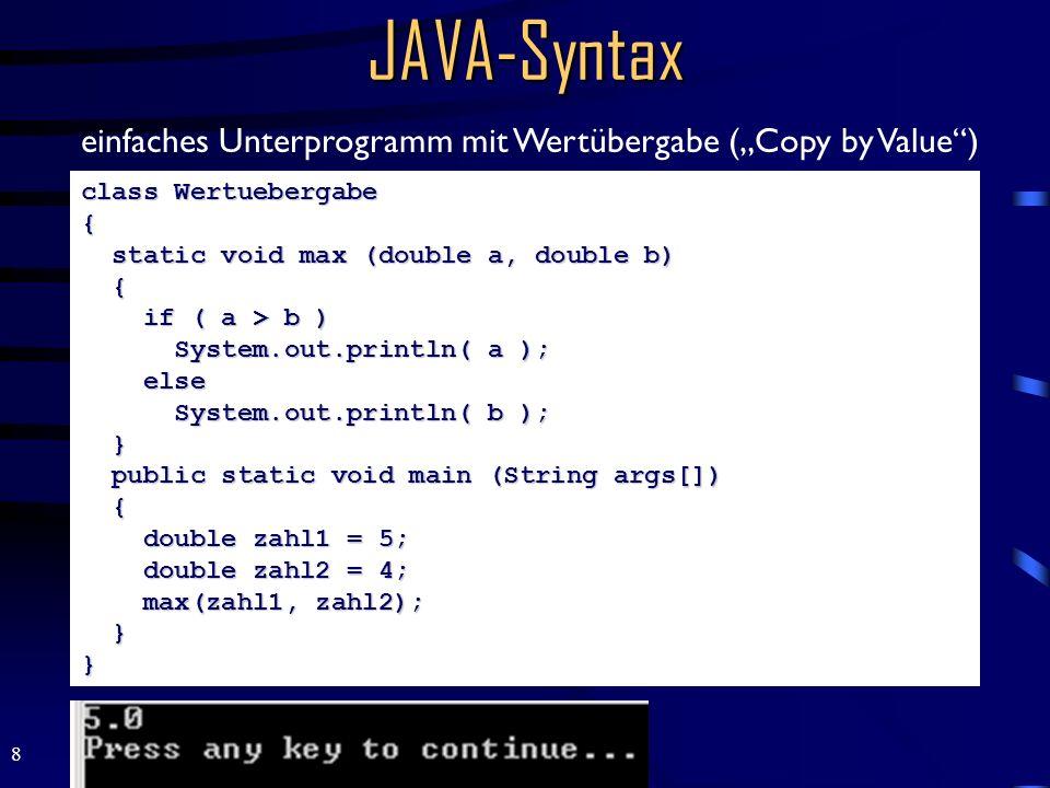"""JAVA-Syntax einfaches Unterprogramm mit Wertübergabe (""""Copy by Value )"""