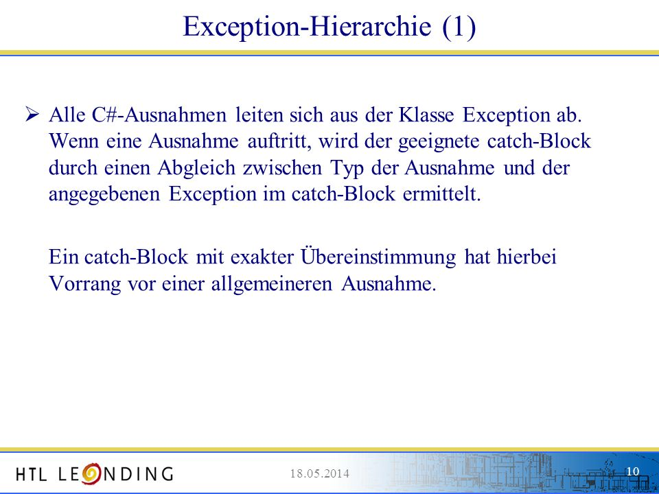 Exception-Hierarchie (1)
