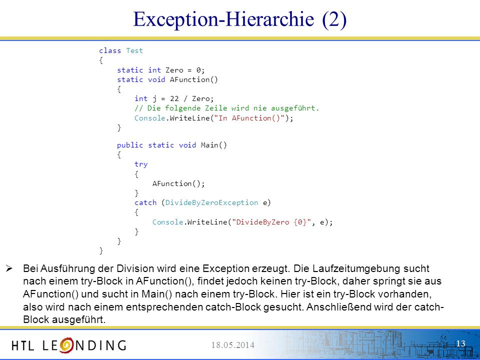 Exception-Hierarchie (2)