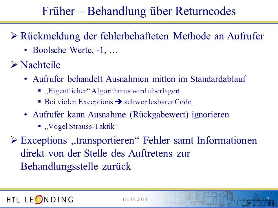 Früher – Behandlung über Returncodes