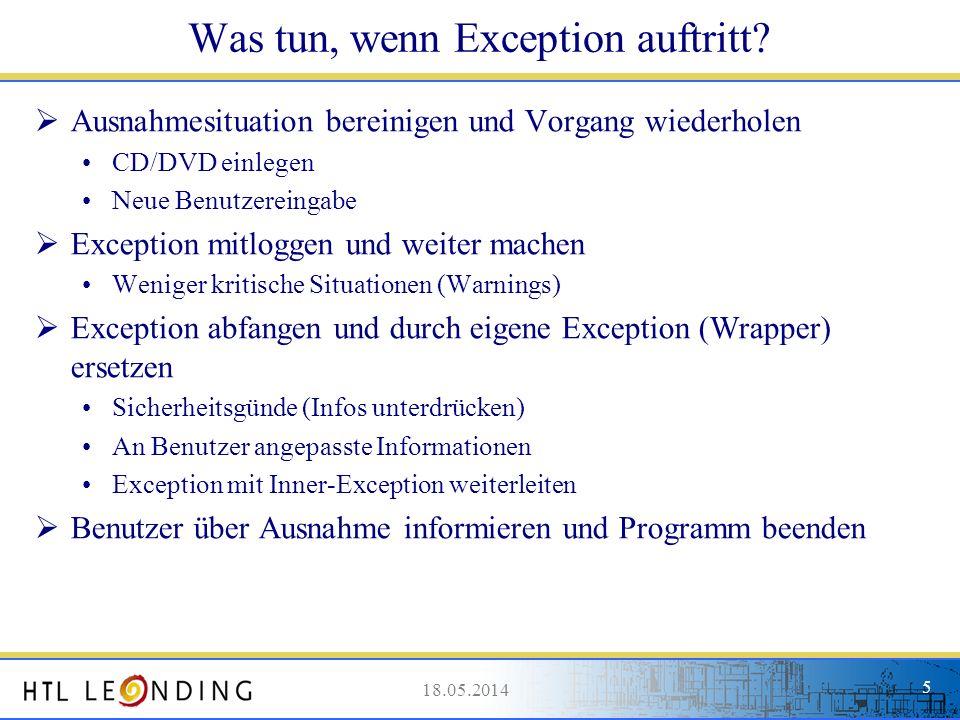 Was tun, wenn Exception auftritt