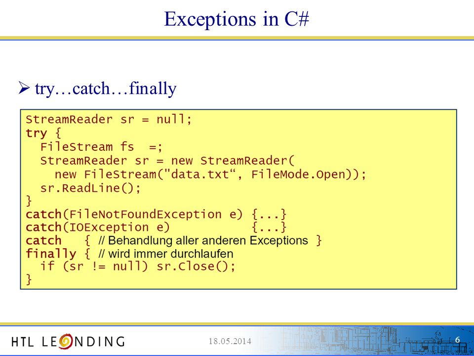 Exceptions in C# try…catch…finally 31.03.2017