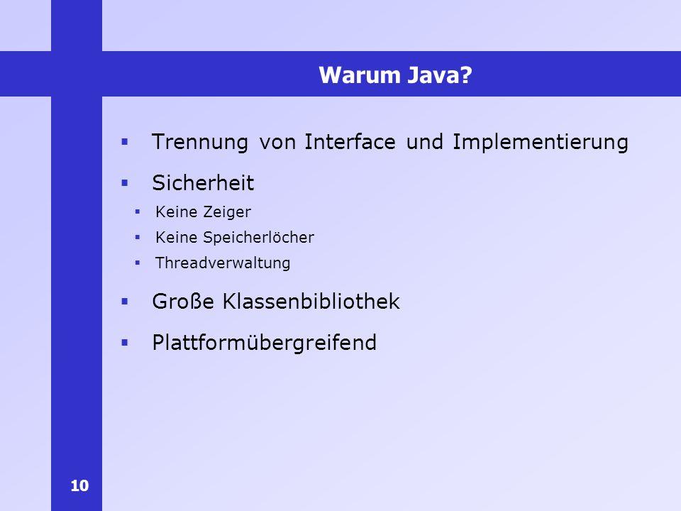 Warum Java Trennung von Interface und Implementierung Sicherheit