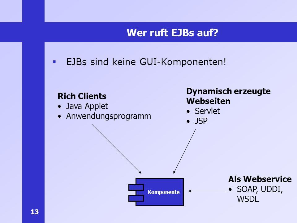 Wer ruft EJBs auf EJBs sind keine GUI-Komponenten! Dynamisch erzeugte