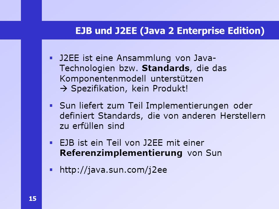 EJB und J2EE (Java 2 Enterprise Edition)