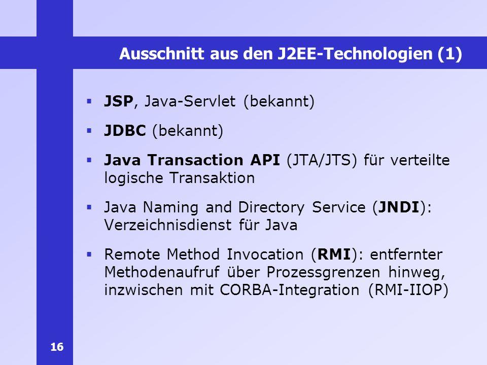 Ausschnitt aus den J2EE-Technologien (1)