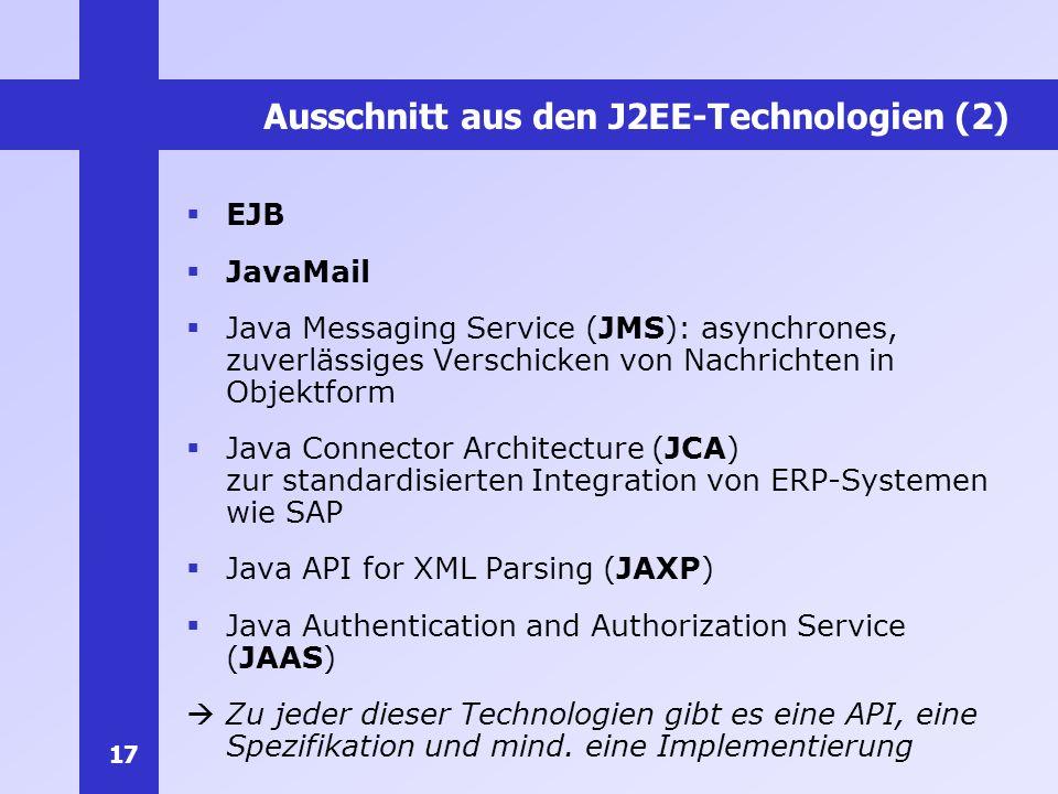 Ausschnitt aus den J2EE-Technologien (2)