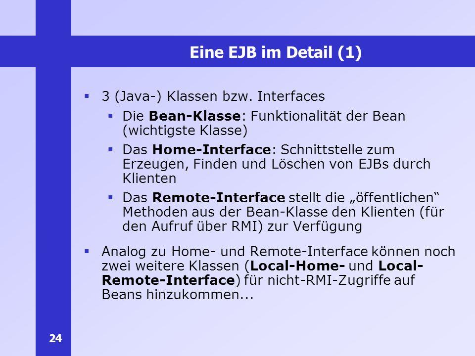 Eine EJB im Detail (1) 3 (Java-) Klassen bzw. Interfaces