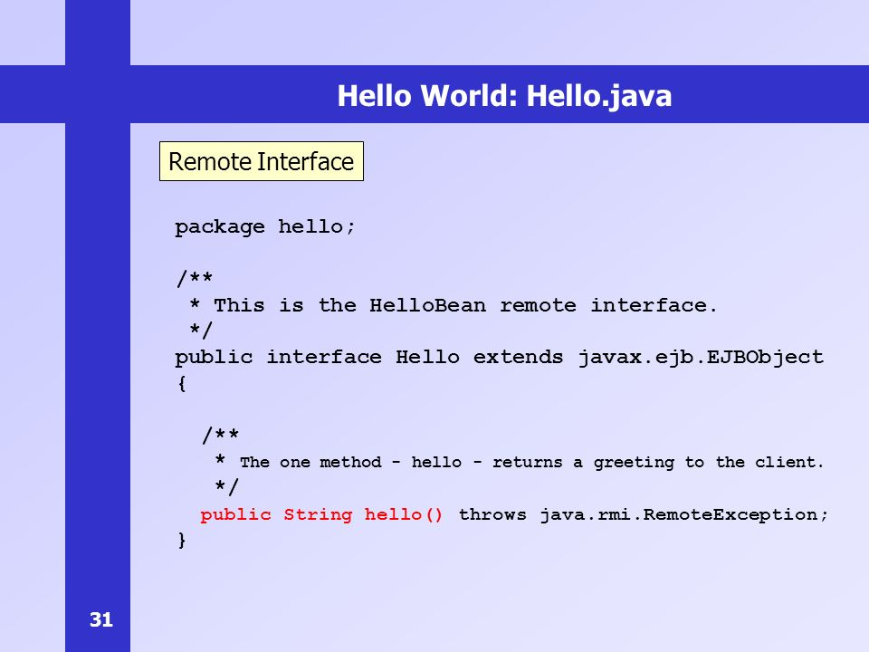 Hello World: Hello.java