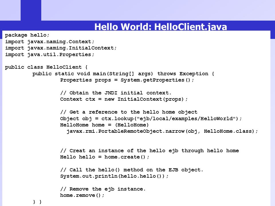 Hello World: HelloClient.java