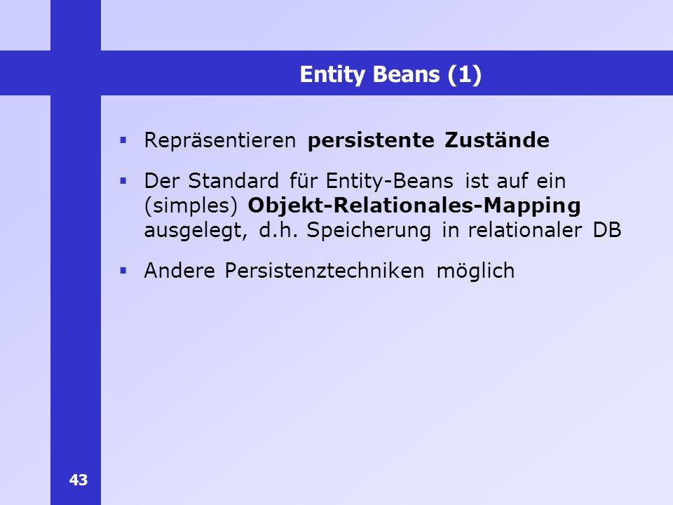 Entity Beans (1) Repräsentieren persistente Zustände